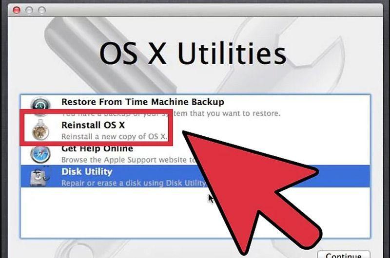 Chọn Cài đặt lại OS X