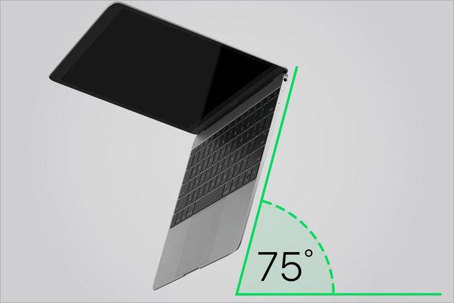 Dựng Macbook ở một góc 75 độ