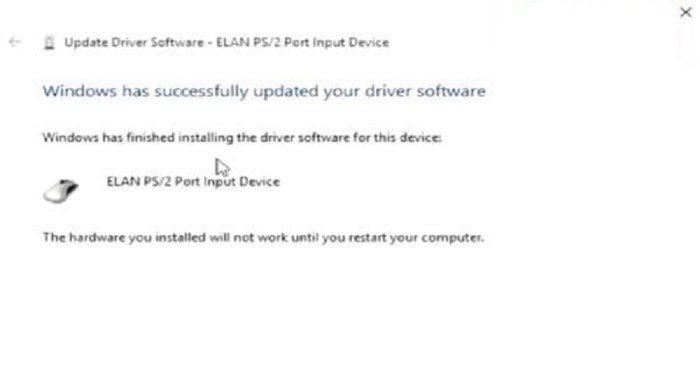 Hệ thống đã cập nhật xong Driver