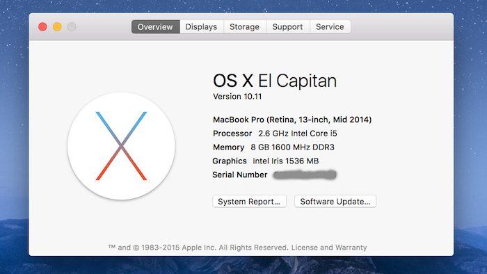 Kiểm tra phiên bản Mac OS X